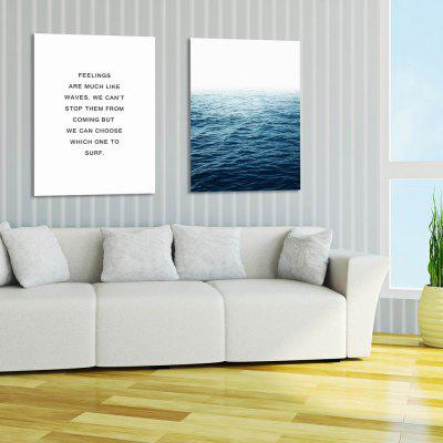 W243 Letters and Sea Unframed Wall Canvas Prints for Home Decoration 2PCS burning guitar pattern unframed wall art canvas paintings