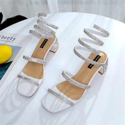 The Dew Toe and The Sequine Drill The Snake Shaped Coiled SandalsWomens Sandals<br>The Dew Toe and The Sequine Drill The Snake Shaped Coiled Sandals<br><br>Available Size: 35-39<br>Closure Type: Slip-On<br>Gender: For Women<br>Heel Height: 5<br>Heel Height Range: Med(1.75-2.75)<br>Heel Type: Chunky Heel<br>Occasion: Party<br>Package Content: 1xShoes (pair)<br>Pattern Type: Solid<br>Sandals Style: Gladiator<br>Style: Fashion<br>Upper Material: PU<br>Weight: 0.8320kg