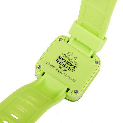 SYNOKE Children and Colorful Luminous Waterproof Jelly WatchLED Watches<br>SYNOKE Children and Colorful Luminous Waterproof Jelly Watch<br><br>Band material: PU Leather<br>Brand: Synoke<br>Case material: ABS<br>Clasp type: Pin buckle<br>Display type: Digital<br>Hour formats: 12/24 Hour<br>Movement type: Digital watch<br>Package Contents: 1 x LED Watch<br>Package size (L x W x H): 24.00 x 4.00 x 2.00 cm / 9.45 x 1.57 x 0.79 inches<br>Package weight: 0.0380 kg<br>People: Children table<br>Product size (L x W x H): 23.50 x 3.80 x 1.40 cm / 9.25 x 1.5 x 0.55 inches<br>Product weight: 0.0350 kg<br>Shape of the dial: Square<br>Special features: Countdown function, Luminous, Stopwatch, Date, Alarm Clock<br>Watch mirror: Acrylic<br>Watch style: LED, Jelly, Outdoor Sports<br>Water resistance: 50 meters