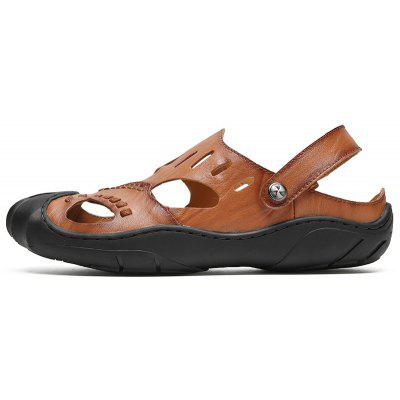 Summer Leather Mens Beach SandalsMens Sandals<br>Summer Leather Mens Beach Sandals<br><br>Available Size: 41-44<br>Closure Type: Buckle Strap<br>Embellishment: Hollow Out<br>Gender: For Men<br>Heel Hight: 1cm<br>Occasion: Casual<br>Outsole Material: Rubber<br>Package Contents: 1 x shoes(pair)<br>Pattern Type: Solid<br>Sandals Style: Ankle Strap<br>Style: Mature<br>Upper Material: Full Grain Leather<br>Weight: 1.5972kg