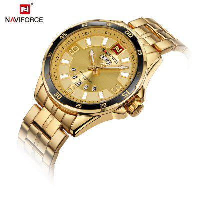 NAVIFORCE9106 Military Sports Mens Quartz Clock Male Business Wrist WatchMens Watches<br>NAVIFORCE9106 Military Sports Mens Quartz Clock Male Business Wrist Watch<br><br>Band material: Stainless Steel<br>Case material: Alloy<br>Clasp type: Sheet folding clasp<br>Movement type: Quartz watch<br>Package Contents: 1 x Watch<br>Package size (L x W x H): 17.50 x 8.00 x 3.00 cm / 6.89 x 3.15 x 1.18 inches<br>Package weight: 0.1810 kg<br>Product size (L x W x H): 24.00 x 4.60 x 1.30 cm / 9.45 x 1.81 x 0.51 inches<br>Product weight: 0.1600 kg<br>Shape of the dial: Round<br>Watch style: Outdoor Sports, Military, Business<br>Watches categories: Men