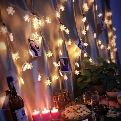 LED Snowflake String Light for Indoor and Outdoor ChristmasLED Strips<br>LED Snowflake String Light for Indoor and Outdoor Christmas<br><br>Beam Angle: 360<br>Color Temperature or Wavelength: 3000-3500K<br>Features: Festival Lighting<br>LED Quantity: 40<br>Length ( m ): 6<br>Light Source: LED<br>Package Content: 1 x LED String Lamp<br>Package size (L x W x H): 24.00 x 24.00 x 5.00 cm / 9.45 x 9.45 x 1.97 inches<br>Package weight: 0.1500 kg<br>Product size (L x W x H): 24.00 x 24.00 x 5.00 cm / 9.45 x 9.45 x 1.97 inches<br>Product weight: 0.1500 kg<br>Type: String Lights, Waterproof<br>Voltage: DC 4.5V<br>Waterproof Rate: IP44<br>Wattage (W): 0.2W