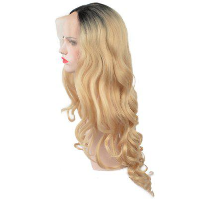 Glueless Synthetic Blonde Ombre Lace Front Long Wavy Wigs African American Women n22 t613 3100 red mix blonde root color for cosplay party synthetic lace front wig sex summer style long silky straight wigs