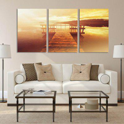 W290 Lake Scenery Unframed Art Wall Canvas Prints for Home Decorations 3 PCS yhhp 4 panels eiffel tower in the rain landscape print canvas art unframed