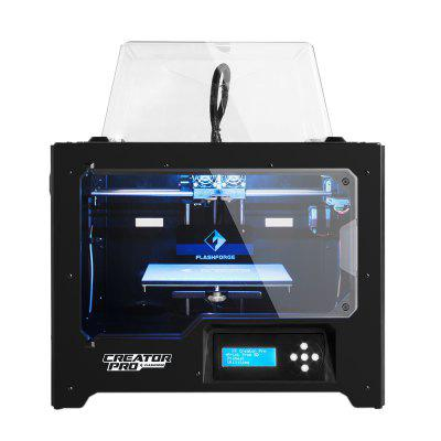 Flashforge Open Source 3D Printer Creator Pro Dual Extruder With Metal Frame3D Printers, 3D Printer Kits<br>Flashforge Open Source 3D Printer Creator Pro Dual Extruder With Metal Frame<br><br>Brand: Flashforge<br>Certificate: CE,RoHs,FCC<br>Connector Type: SD card, USB<br>File format: STL, OBJ<br>Language: English,French,Russian,Italian,Czech,Japanese,Chinese<br>Layer thickness: 0.05-0.4mm<br>LCD Screen: Yes<br>Material diameter: 1.75mm<br>Memory card offline print: SD card<br>Model: Creator Pro<br>Model supporting function: Yes<br>Nozzle diameter: 0.4mm<br>Nozzle quantity: Double<br>Nozzle temperature: 220 - 230 Degree Celsius<br>Package size: 60.00 x 46.50 x 57.50 cm / 23.62 x 18.31 x 22.64 inches<br>Package weight: 21.5000 kg<br>Packing Contents: 1 x Creator Pro 3D Printer, 2 x Filament Spooler, 1 x Power cable, 1 x USB Cable, 2 x Support Holder, 1 x SD Card<br>Packing Type: Assembled packing<br>Platform temperature: 30 - 110 Degree Celsius<br>Print speed: 24cc/h<br>Product forming size: 227?148?150mm<br>Product size: 47.60 x 33.20 x 38.30 cm / 18.74 x 13.07 x 15.08 inches<br>Product weight: 17.0000 kg<br>Supporting material: Nylon, TPU, PETG, ABS, Flexible Filaments, Nylon PVA, PLA<br>System support: Windows xp/Windows Vista/Windows 7/Linux/Mac OX<br>Type: Complete Machine<br>Voltage: 100V/240V<br>Voltage Range: 100-240<br>Working Power: 100-240 V, ~2amps, 50-60 Hz, 350 W<br>XY-axis positioning accuracy: 0.011mm<br>Z-axis positioning accuracy: 0.0025mm