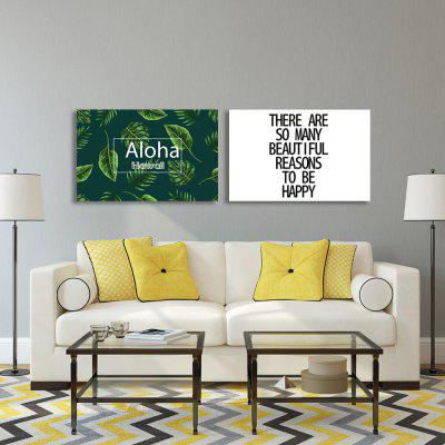 W300 Leaves and Letters Unframed Wall Canvas Prints for Home Decorations 2 PCS burning guitar pattern unframed wall art canvas paintings