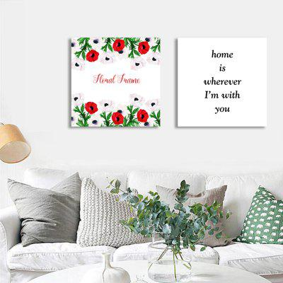 W303 Letters and Flowers Unframed Wall Canvas Prints for Home Decorations 2 PCS burning guitar pattern unframed wall art canvas paintings