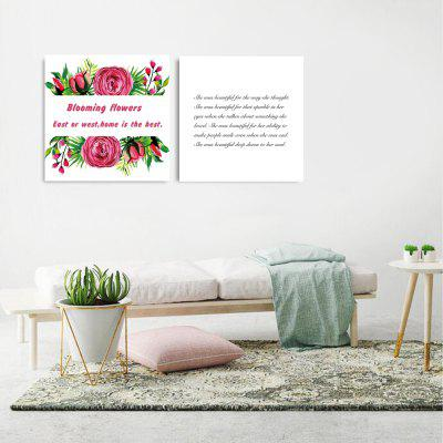 W306 Flower and Letters Unframed Wall Canvas Prints for Home Decorations 2 PCS burning guitar pattern unframed wall art canvas paintings