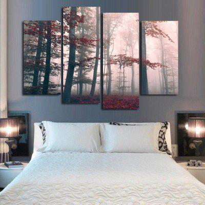 Mysterious Forest Frameless Printed Canvas Wall Art Paintings 4PCS burning guitar pattern unframed wall art canvas paintings