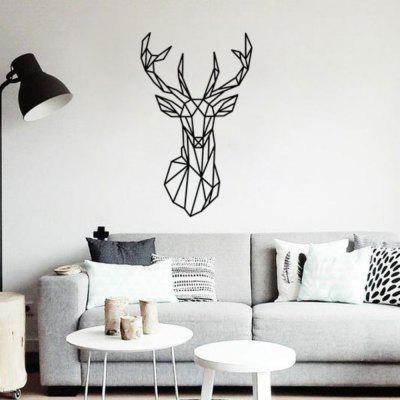 Geometric Deer Head Animal Wall Stickers Art and Fresh Living Room Bedroom Decor stylish diy purple mangnolia and letters pattern wall stickers for home decor