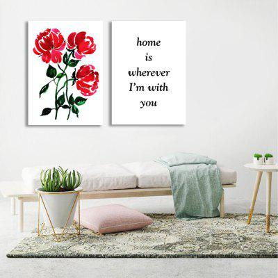 W299 Letters and Flowers Unframed Wall Canvas Prints for Home Decorations 2 PCS burning guitar pattern unframed wall art canvas paintings