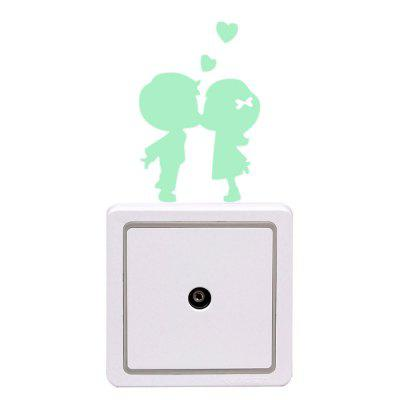 Luminous Engraving Small Lovers Wall Paste Switch Sticker fluorescence creative fairy stars luminous switch wall sticker