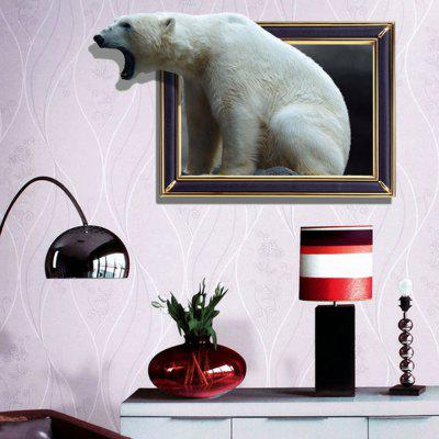 3D Polar Bear Personality Creative Removable Wall Sticker 3d blooming rose interior removable wall sticker