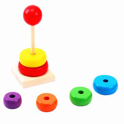 Wooden Rainbow Tower Children Assemble Puzzle Toys baby intelligence wooden acrylic paint rainbow tower toy multicolored