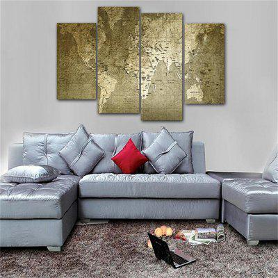 Old World Map Frameless Printed Canvas Wall Art Paintings 4PCS