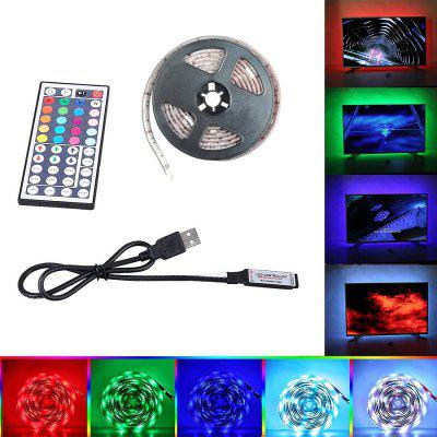 2M USB RGB LED Strip Light 5050 Waterproof TV Background Lamp with 44KEY RemoteLED Strips<br>2M USB RGB LED Strip Light 5050 Waterproof TV Background Lamp with 44KEY Remote<br><br>Beam Angle: 360<br>Bulb Included: Yes<br>Color Temperature or Wavelength: 700 - 635nm (Red); 650 - 490nm (Green); 490 - 440 nm( Blue)<br>Features: Festival Lighting, Color-changing, with Remote Control, Cuttable<br>LED Quantity: 60<br>Length ( m ): 2<br>Light Source: LED,Energy Saving,5050 SMD<br>Light Source Color: RGB<br>Package Content: 1 x LED Strip Light , 1 x 44Key RGB Remote Controller , 1 x USB Cable<br>Package size (L x W x H): 19.00 x 13.00 x 3.00 cm / 7.48 x 5.12 x 1.18 inches<br>Package weight: 0.1350 kg<br>Power Supply: USB Cable,5V<br>Product size (L x W x H): 18.00 x 12.00 x 2.00 cm / 7.09 x 4.72 x 0.79 inches<br>Product weight: 0.1300 kg<br>Type: Waterproof, Light Sets<br>Voltage: DC 5V<br>Wattage (W): 9<br>Width( mm ): 10
