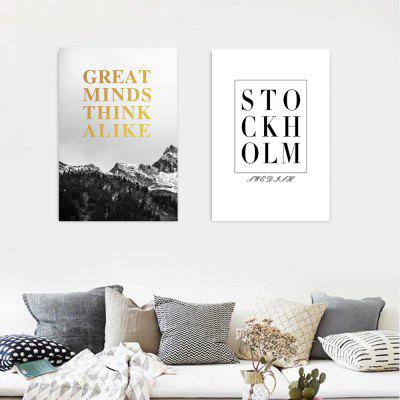 W309 Letters Unframed Wall Canvas Prints for Home Decorations 2 PCS stylish diy purple mangnolia and letters pattern wall stickers for home decor