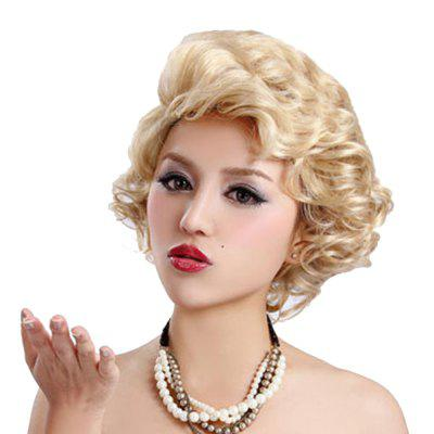 Synthetic Light Blonde Short Curly Hair Charming Cosplay Dancing Party Wigs n22 t613 3100 red mix blonde root color for cosplay party synthetic lace front wig sex summer style long silky straight wigs