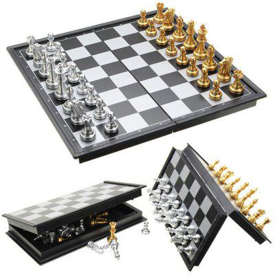 Chess Game Silver Gold Pieces Folding Magnetic Foldable Board Contemporary Set vintage board game saboteur