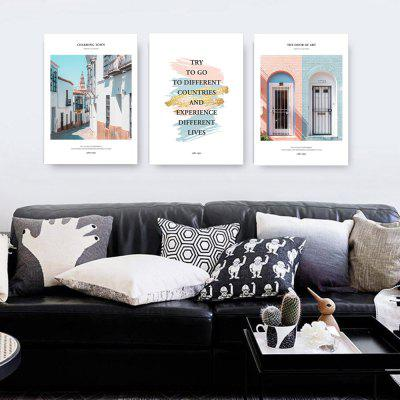 W312 Letters and House Unframed Wall Canvas Prints for Home Decorations 3PCS burning guitar pattern unframed wall art canvas paintings