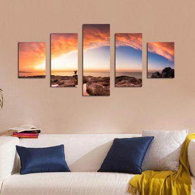 W335 Seaside Scenery Unframed Wall Canvas Prints for Home Decorations 5PCS burning guitar pattern unframed wall art canvas paintings