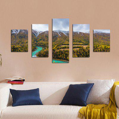 W336 Mountain and Trees Unframed Wall Canvas Prints for Home Decorations 5PCS burning guitar pattern unframed wall art canvas paintings