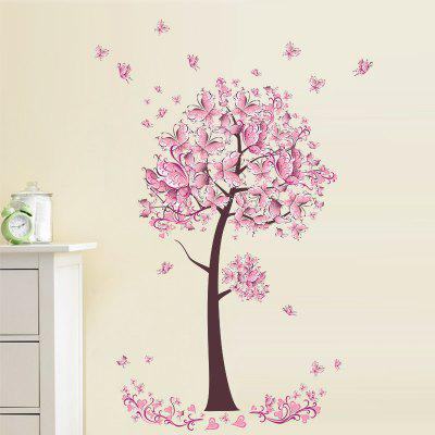 YEDUO Butterfly Flower Tree Wall Stickers Decals Girls Women Bedroom Decor pink butterfly flower tree wall sticker for home room decoration waterproof removable decals
