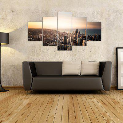 W314 View of the City Unframed Wall Canvas Prints for Home Decorations 5PCS yhhp 4 panels eiffel tower in the rain landscape print canvas art unframed