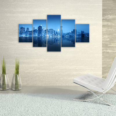 W315 Urban Night Scene Unframed Wall Canvas Prints for Home Decorations 5PCS burning guitar pattern unframed wall art canvas paintings