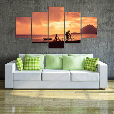 W316 Riding in the Sunset Unframed Wall Canvas Prints for Home Decorations 5PCS yhhp 4 panels eiffel tower in the rain landscape print canvas art unframed