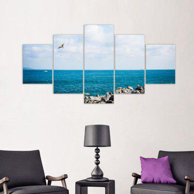 W323 Sea Landscape Unframed Wall Canvas Prints for Home Decorations 5PCS burning guitar pattern unframed wall art canvas paintings