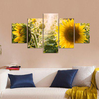 W324 Sunflowers Unframed Wall Canvas Prints for Home Decorations 5PCS burning guitar pattern unframed wall art canvas paintings