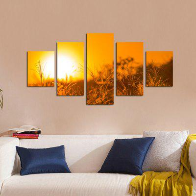 W327 Sunset Grass Unframed Wall Canvas Prints for Home Decorations 5PCS burning guitar pattern unframed wall art canvas paintings