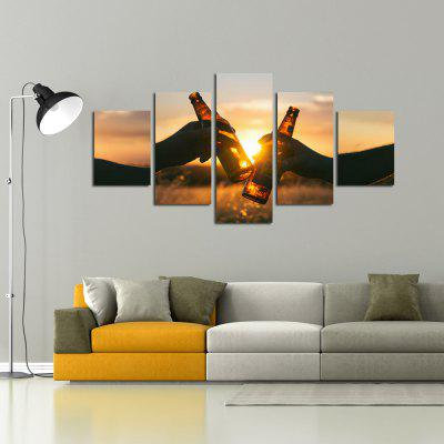 W341 Unique Landscape Unframed Wall Canvas Prints for Home Decorations 5PCS burning guitar pattern unframed wall art canvas paintings