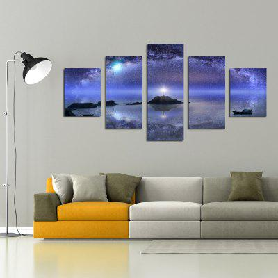 W342 Starry Sky Scenery Unframed Wall Canvas Prints for Home Decorations 5PCS burning guitar pattern unframed wall art canvas paintings