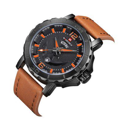 Naviforce Leather Strap Sports Watches Men Quartz Clock Military Wrist DesignMens Watches<br>Naviforce Leather Strap Sports Watches Men Quartz Clock Military Wrist Design<br><br>Band material: Leather<br>Case material: Stainless Steel<br>Clasp type: Pin buckle<br>Movement type: Quartz watch<br>Package Contents: 1 x watch<br>Package size (L x W x H): 17.50 x 8.00 x 3.00 cm / 6.89 x 3.15 x 1.18 inches<br>Package weight: 0.0990 kg<br>Product size (L x W x H): 24.50 x 4.60 x 1.30 cm / 9.65 x 1.81 x 0.51 inches<br>Product weight: 0.0790 kg<br>Shape of the dial: Round<br>Watch style: Trends in outdoor sports, Fashion<br>Watches categories: Men