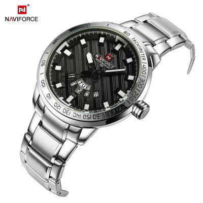 NAVIFORCE Luxury Brand Men Stainless Steel Wrist WatchesMens Watches<br>NAVIFORCE Luxury Brand Men Stainless Steel Wrist Watches<br><br>Band material: Stainless Steel<br>Case material: Stainless Steel<br>Clasp type: Sheet folding clasp<br>Movement type: Quartz watch<br>Package Contents: 1 x Watch<br>Package size (L x W x H): 17.50 x 8.00 x 3.00 cm / 6.89 x 3.15 x 1.18 inches<br>Package weight: 0.0850 kg<br>Product size (L x W x H): 23.00 x 4.65 x 1.40 cm / 9.06 x 1.83 x 0.55 inches<br>Product weight: 0.0630 kg<br>Shape of the dial: Round<br>Watch style: Business, Fashion<br>Watches categories: Men