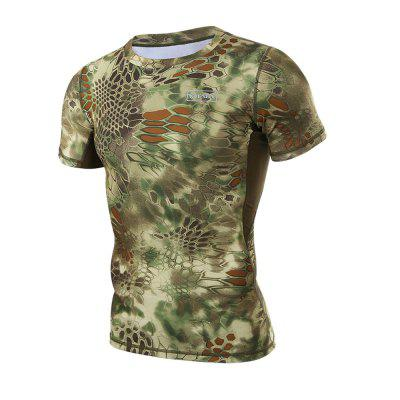 Mens Outdoor Short-sleeved Quick-drying Camo T-shirtSoft Shell Jackets<br>Mens Outdoor Short-sleeved Quick-drying Camo T-shirt<br><br>Activity: Fishing, Outdoor Lifestyle<br>Features: Breathable, Quick-drying<br>Gender: Men<br>Material: Polyester Fiber<br>Package Content: 1 ? T-shirt<br>Package size: 1.00 x 1.00 x 1.00 cm / 0.39 x 0.39 x 0.39 inches<br>Package weight: 0.1600 kg<br>Product weight: 0.1500 kg<br>Season: Summer
