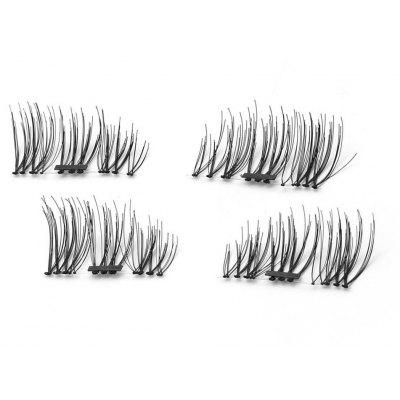 Buy BLACK D 4pcs 3D Magnetic False Eyelashes Natural Soft Makeup Reusable Magnet Extension for $7.79 in GearBest store