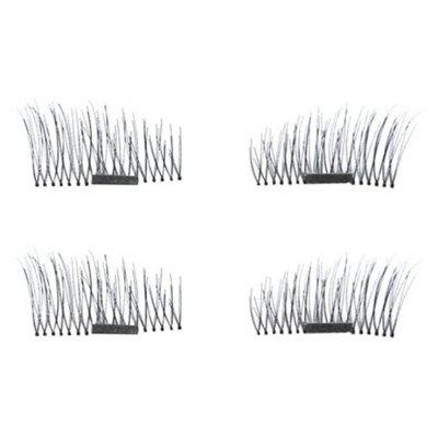 Buy BLACK B 4pcs 3D Magnetic False Eyelashes Natural Soft Makeup Reusable Magnet Extension for $7.79 in GearBest store