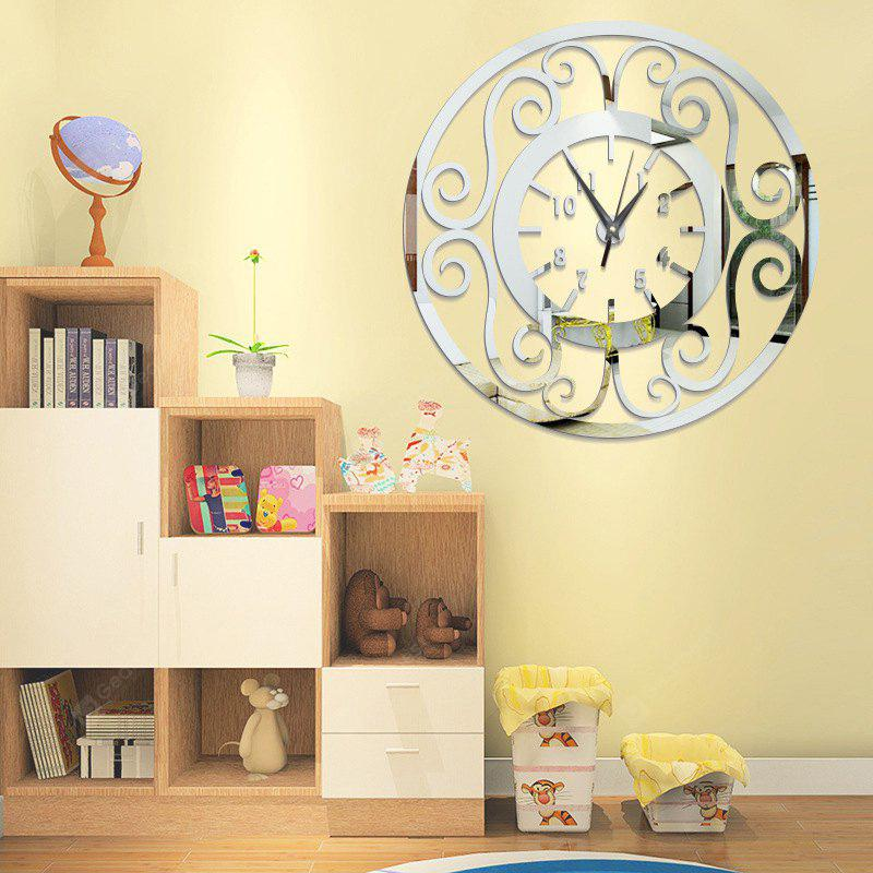 DIY Hollow Fower Vine Acrylic Mirror Wall Clock Stickers Home Decor ...