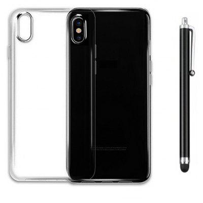 SZKINSTON Shockproof High Clear Transparent Soft TPU Back Cover Case with Black Metal Capacitive Pen for iPhone X