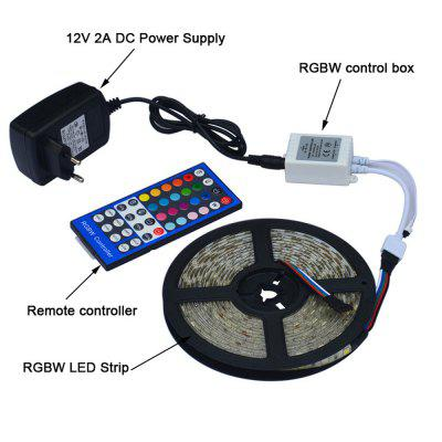Jiawen Waterproof 5m 5050 RGBW LED Light Strip + Remote Controller + 12V 2A Power Supply RGB + White Indoor for DecorationLED Strips<br>Jiawen Waterproof 5m 5050 RGBW LED Light Strip + Remote Controller + 12V 2A Power Supply RGB + White Indoor for Decoration<br><br>Beam Angle: 180<br>Color Temperature or Wavelength: 700-635nm(Red) 560-490nm(Green) 490-450nm(Blue) 6000-6500K (White)<br>Features: with Remote Control, Self-Adhesive, Cuttable, Color-changing<br>Initial Lumens ( lm ): 1800<br>LED Quantity: 300<br>Length ( m ): 5<br>Light color: RGB, Cool White<br>Light Source: 5050 SMD<br>Light Source Color: Cold White,RGB<br>Package Content: 1 x 5M Led Strip, 1 x 12V 2A Power Supply, 1 x RGBW Controller, 1 x Remote Controller<br>Package size (L x W x H): 18.00 x 18.00 x 8.00 cm / 7.09 x 7.09 x 3.15 inches<br>Package weight: 0.4270 kg<br>Power Supply: Power Adapter<br>Product size (L x W x H): 500.00 x 1.00 x 0.30 cm / 196.85 x 0.39 x 0.12 inches<br>Product weight: 0.3670 kg<br>Type: RGB Strip Lights<br>Voltage: 100 - 240V<br>Waterproof Rate: IP65<br>Wattage (W): 18<br>Width( mm ): 10