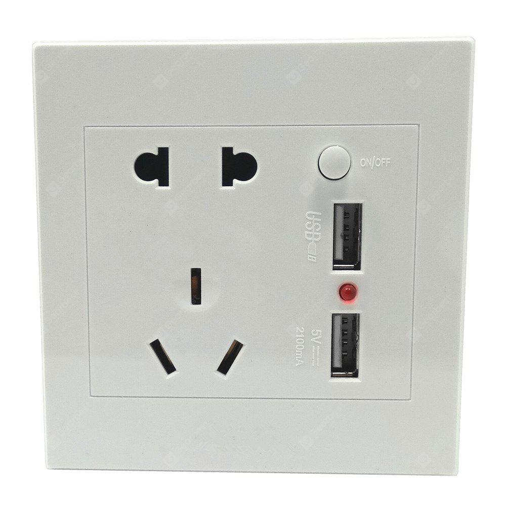 110-250V ABS 86mm Wall Mount Power Socket Switch with Dual USB Ports 5V 2.1A
