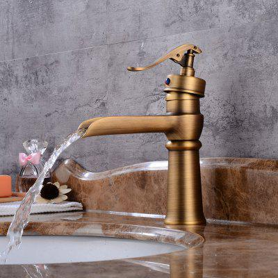 Buy ANTIQUE BROWN Antique Centerset Waterfall Widespread Pre Rinse with Ceramic Valve Single Handle One Hole for Antique Copper Bathroom Sink Faucet for $81.98 in GearBest store
