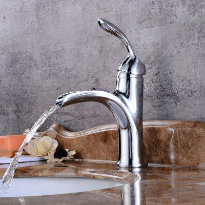 Buy SILVER Contemporary Deck Mount One Single Handle Square Bath Mixer Taps Widespread Waterfall Bathroom Sink Faucet Chrome Lavatory Bathtub for $80.26 in GearBest store