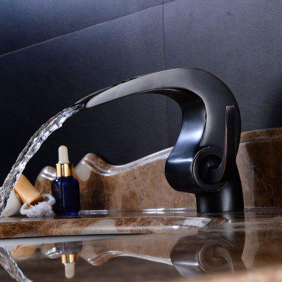 Buy BLACK Oil Rubbed Bronze Waterfall Bathroom Sink Faucet Single Handle One Hole Basin Mixer Tap for $88.70 in GearBest store