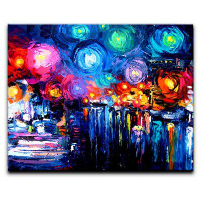 Buy BLUE+YELLOW+RED YHHP Hand-Painted Abstract Landscape Starry Sky One Panel Canvas Oil Painting for Home Decoration for $58.44 in GearBest store