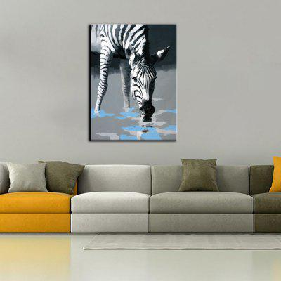 Buy BLACK WHITE YHHP Drink Water Zebra Canvas Oil Painting Modern Art for $35.66 in GearBest store