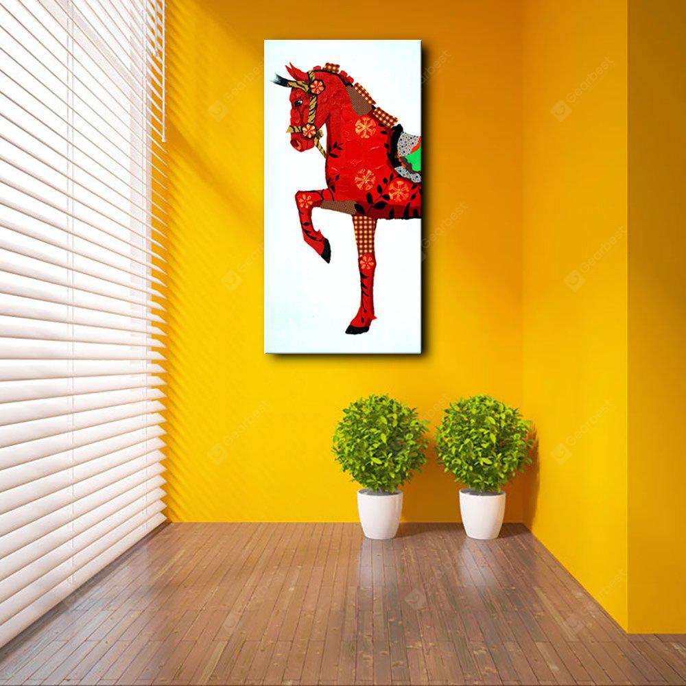 YHHP Red Treasure Horse Animal Oil Painting Canvas Wall Art Picture ...
